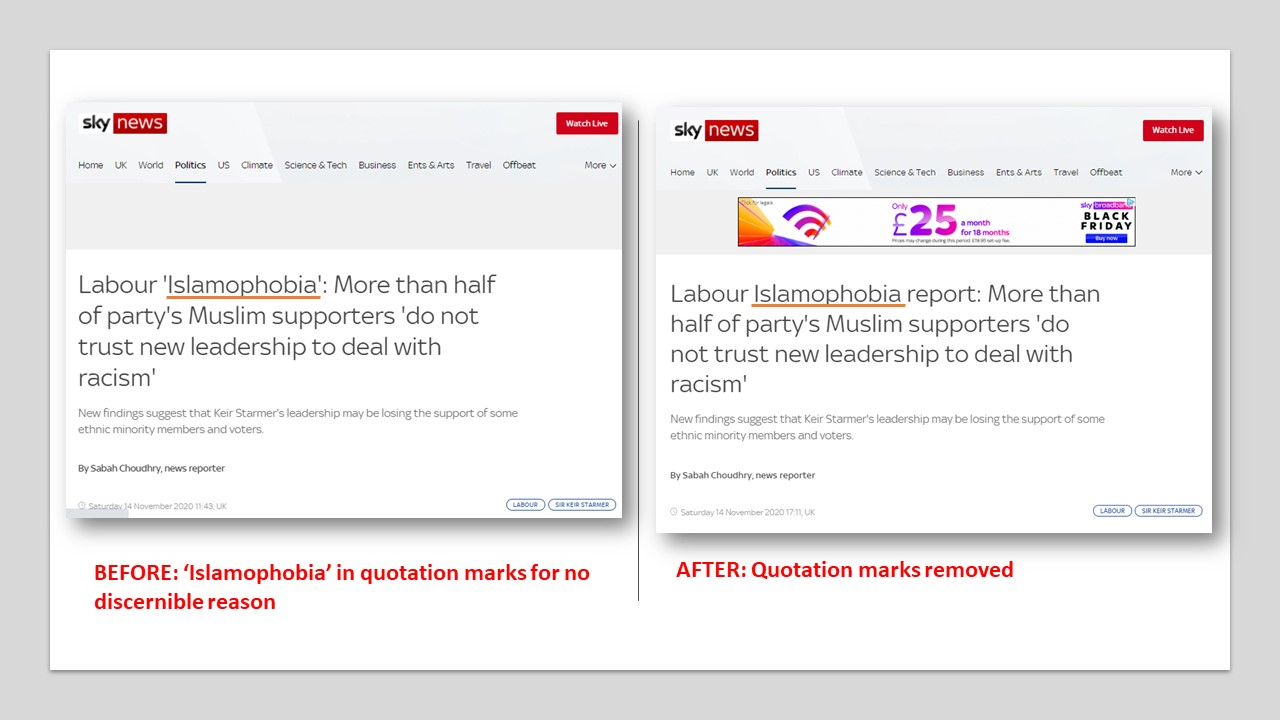 image showing the headline on Sky website before and after the edits.